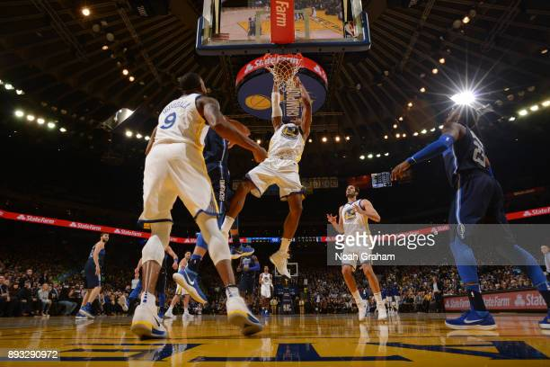 David West of the Golden State Warriors dunks against the Dallas Mavericks on December 14 2017 at ORACLE Arena in Oakland California NOTE TO USER...