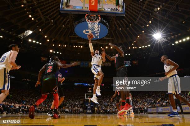 David West of the Golden State Warriors goes to the basket against the Chicago Bulls on November 24 2017 at ORACLE Arena in Oakland California NOTE...