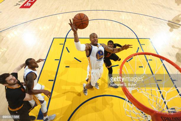 David West of the Golden State Warriors grabs a rebnound against the Cleveland Cavaliers in Game Five of the 2017 NBA Finals on June 12 2017 at...