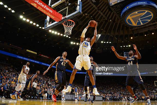 David West of the Golden State Warriors grabs the rebound against the New Orleans Pelicans on November 7 2016 at ORACLE Arena in Oakland California...