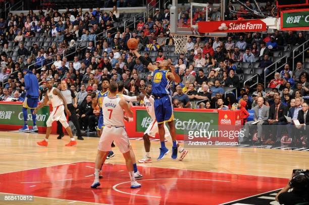 David West of the Golden State Warriors grabs the rebound against the LA Clippers on October 30 2017 at STAPLES Center in Los Angeles California NOTE...