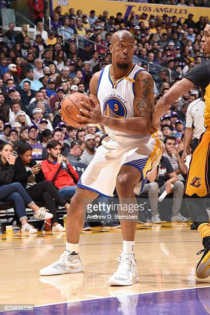 David West of the Golden State Warriors handles the ball against the Los Angeles Lakers on November 25 2016 at STAPLES Center in Los Angeles...