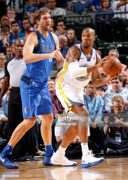David West of the Golden State Warriors handles the ball against the Dallas Mavericks on October 23 2017 at the American Airlines Center in Dallas...