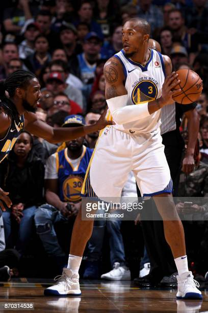 David West of the Golden State Warriors handles the ball against the Denver Nuggets on November 4 2017 at the Pepsi Center in Denver Colorado NOTE TO...