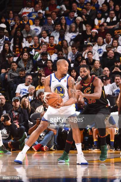 David West of the Golden State Warriors handles the ball against the Cleveland Cavaliers on December 25 2017 at ORACLE Arena in Oakland California...