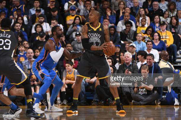 David West of the Golden State Warriors handles the ball against the Oklahoma City Thunder on February 6 2018 at ORACLE Arena in Oakland California...