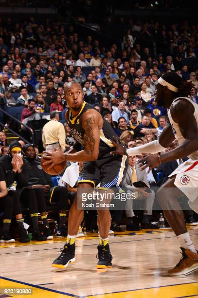 David West of the Golden State Warriors handles the ball against the LA Clippers on February 22 2018 at ORACLE Arena in Oakland California NOTE TO...