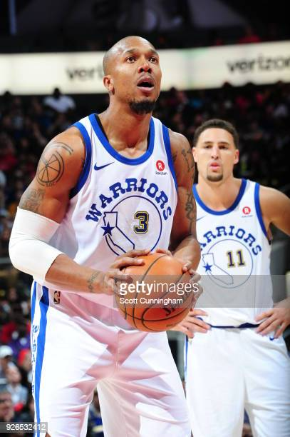 David West of the Golden State Warriors handles the ball against the Atlanta Hawks on March 2 2018 at Philips Arena in Atlanta Georgia NOTE TO USER...