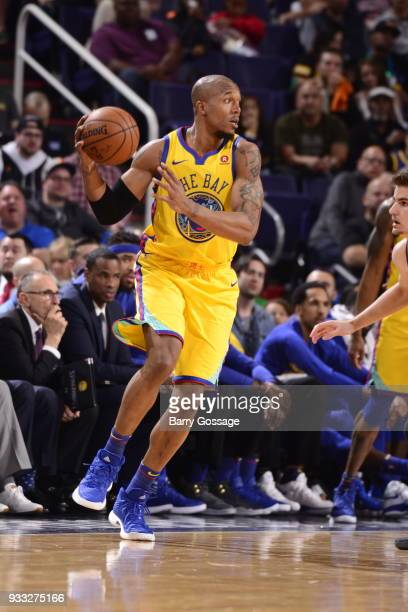 David West of the Golden State Warriors handles the ball against the Phoenix Suns on March 17 2018 at Talking Stick Resort Arena in Phoenix Arizona...