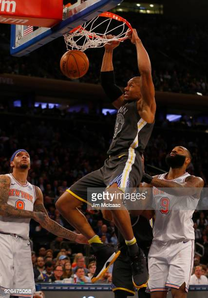 David West of the Golden State Warriors in action against the New York Knicks at Madison Square Garden on February 26 2018 in New York City The...