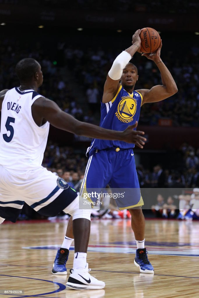 David West #3 of the Golden State Warriors in action during the game between the Minnesota Timberwolves and the Golden State Warriors as part of 2017 NBA Global Games China at Universidade Center on October 5, 2017 in Shenzhen, China.