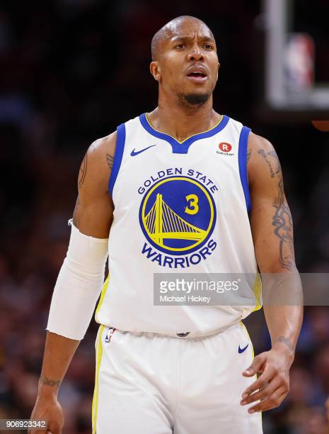 David West of the Golden State Warriors is seen during the game against the Cleveland Cavaliers at Quicken Loans Arena on January 15 2018 in...