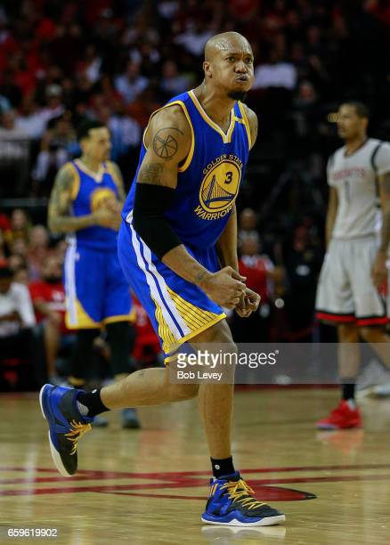 David West of the Golden State Warriors reacts after being called for a foul during the fourth quarter at Toyota Center on March 28 2017 in Houston...