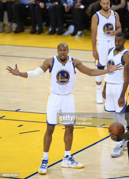 David West of the Golden State Warriors reacts against the Cleveland Cavaliers during the first half in Game 5 of the 2017 NBA Finals at ORACLE Arena...