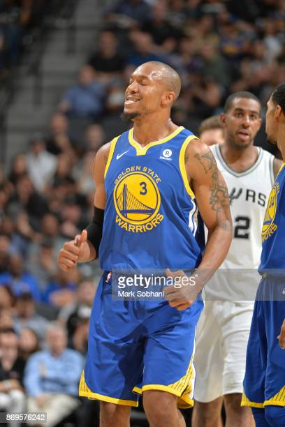 David West of the Golden State Warriors reacts to a play against the San Antonio Spurs on November 2 2017 at the ATT Center in San Antonio Texas NOTE...