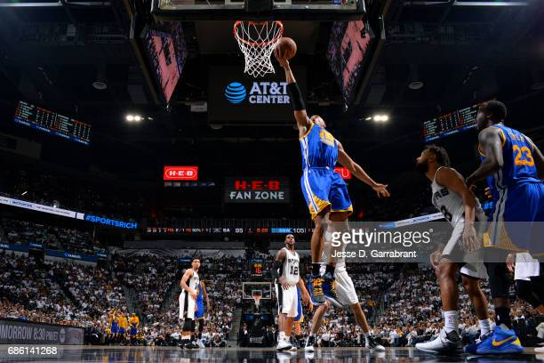 David West of the Golden State Warriors shoots a lay up during the game against the San Antonio Spurs during Game Three of the Western Conference...