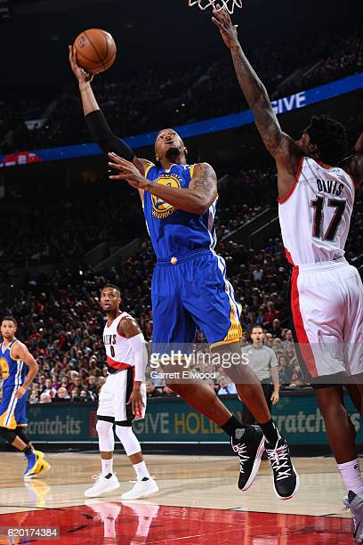 David West of the Golden State Warriors shoots the ball against the Portland Trail Blazers on November 1 2016 at Moda Center in Portland Oregon NOTE...