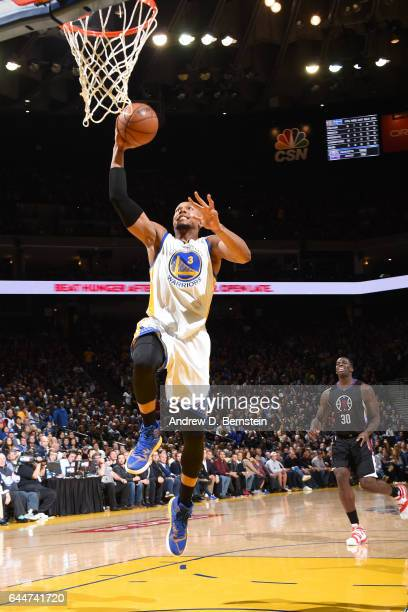 David West of the Golden State Warriors shoots the ball against the LA Clippers during the game on February 23 2017 at ORACLE Arena in Oakland...