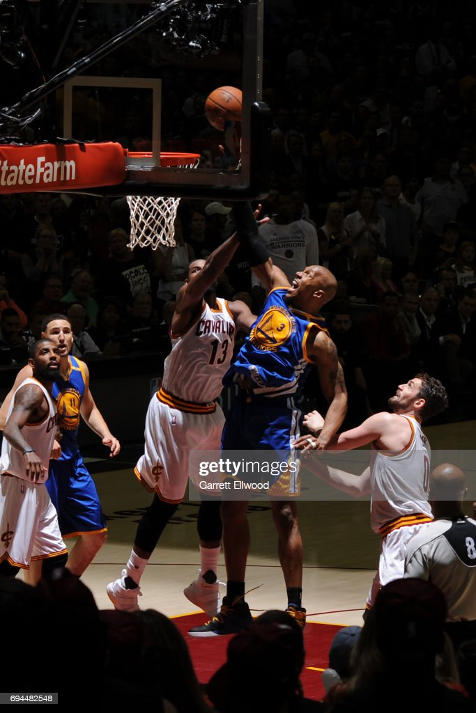 David West #3 of the Golden State Warriors shoots the ball against the Cleveland Cavaliers in Game Four of the 2017 NBA Finals on June 9, 2017 at Quicken Loans Arena in Cleveland, Ohio.