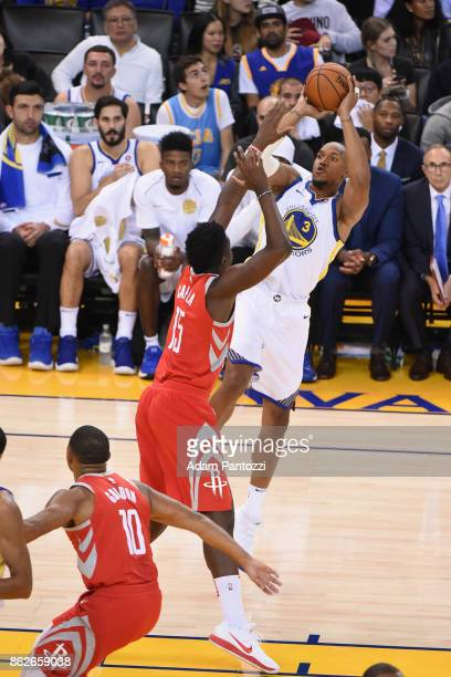 David West of the Golden State Warriors shoots the ball against the Houston Rockets on October 17 2017 at ORACLE Arena in Oakland California NOTE TO...