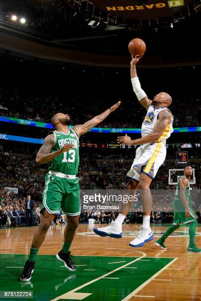 David West of the Golden State Warriors shoots the ball against the Boston Celtics on November 16 2017 at the TD Garden in Boston Massachusetts NOTE...