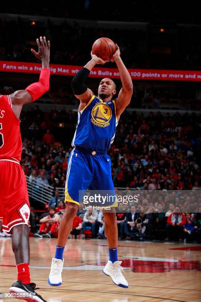 David West of the Golden State Warriors shoots the ball against the Chicago Bulls on January 17 2018 at the United Center in Chicago Illinois NOTE TO...
