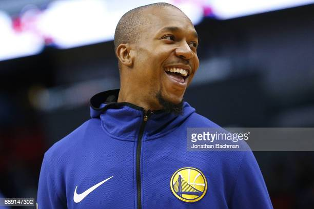 David West of the Golden State Warriors warms up before a game against the New Orleans Pelicans at the Smoothie King Center on December 4 2017 in New...