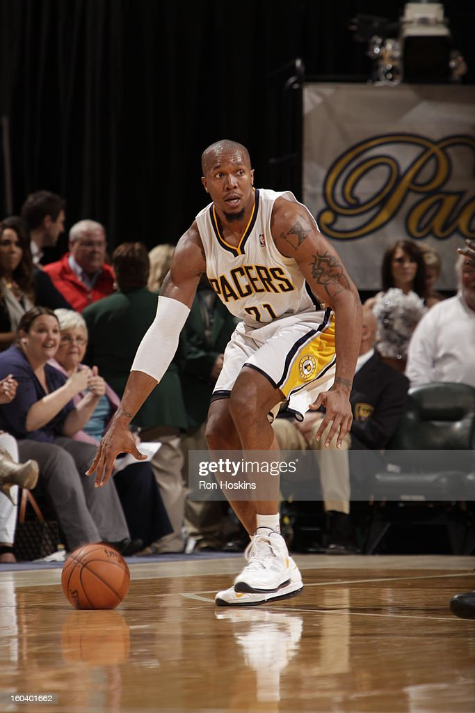 David West #21 of the Indiana Pacers controls the ball against the Detroit Pistons on January 30, 2013 at Bankers Life Fieldhouse in Indianapolis, Indiana.