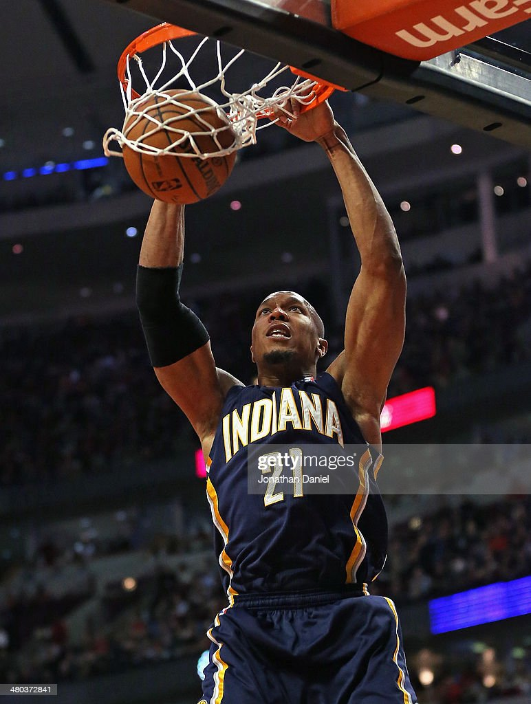 David West #21 of the Indiana Pacers dunks against the Chicago Bulls at the United Center on March 24, 2014 in Chicago, Illinois. The Bulls defeated the Pacers 89-77.