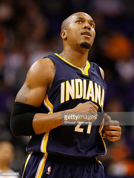 David West of the Indiana Pacers during the NBA game against the Phoenix Suns at US Airways Center on December 2 2014 in Phoenix Arizona NOTE TO USER...