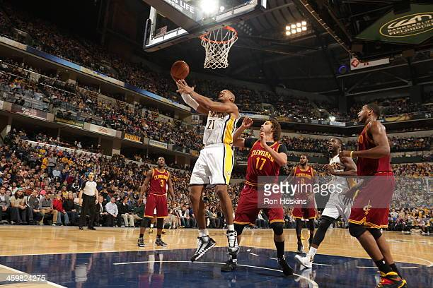 David West of the Indiana Pacers goes up for the shot against the Cleveland Cavaliers at Bankers Life Fieldhouse on December 28 2013 in Indianapolis...