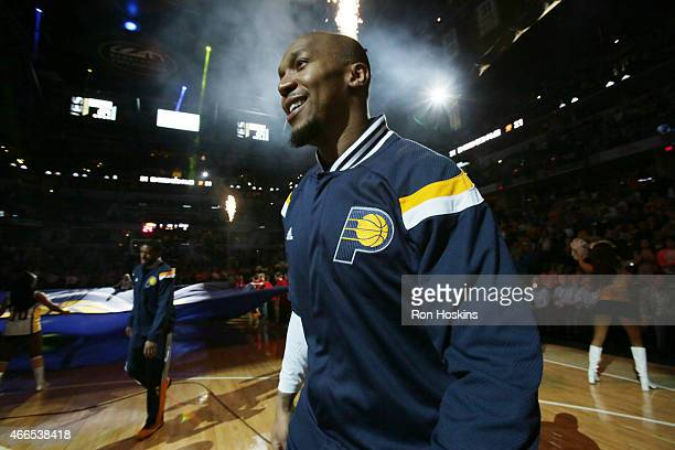 David West of the Indiana Pacers is introduced before the game against the Toronto Raptors on March 16 2015 at Bankers Life Fieldhouse in...
