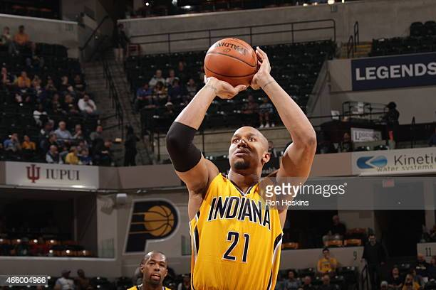 David West of the Indiana Pacers prepares to shoot a free throw against the Milwaukee Bucks on March 12 2015 at Bankers Life Fieldhouse in...