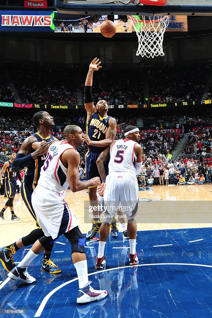 David West #21 of the Indiana Pacers puts up a shot against the Atlanta Hawks during Game Four of the Eastern Conference Quarterfinals in the 2013 NBA Playoffs on April 29, 2013 at Philips Arena in Atlanta, Georgia.