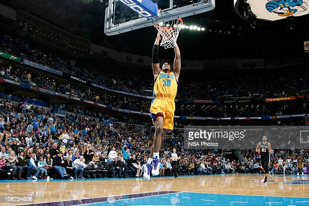 David West of the New Orleans Hornets dunks against the San Antonio Spurs on January 22 2011 at the New Orleans Arena in New Orleans Louisiana NOTE...