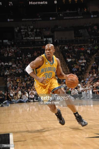 David West of the New Orleans/Oklahoma City Hornets drives to the basket during a game against the San Antonio Spurs the ATT Center on March 28 2007...