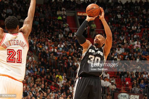David West of the San Antonio Spurs shoots the ball against the Miami Heat on February 9 2016 at American Airlines Arena in Miami Florida NOTE TO...