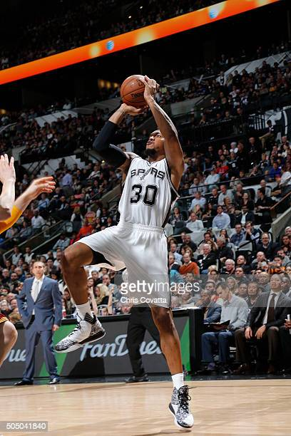 David West of the San Antonio Spurs shoots the ball against the Cleveland Cavaliers on January 14 2016 at the ATT Center in San Antonio Texas NOTE TO...