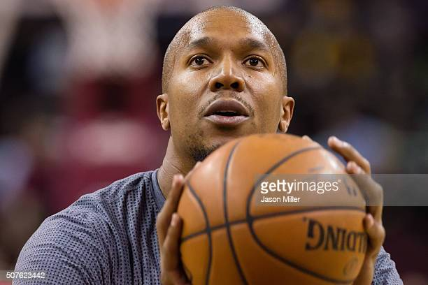 David West of the San Antonio Spurs warms up prior to the game against the Cleveland Cavaliers at Quicken Loans Arena on January 30 2016 in Cleveland...