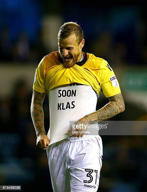 David Wheater of Bolton Wanderers celebrates after scoring his team's second goal during the Sky Bet League One match between Millwall and Bolton...