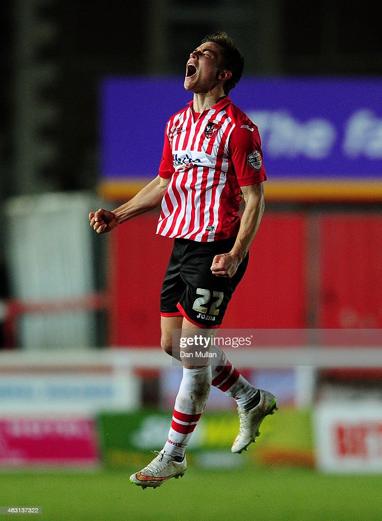 David Wheeler of Exeter City celebrates scoring his side's second goal during the Sky Bet League Two match between Exeter City and Cambridge United at St. James Park on February 10, 2015 in Exeter, England.