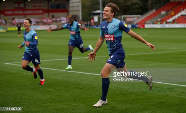 David Wheeler of Wycombe Wanderers celebrates after his teams second goal during the Sky Bet League One Play Off Semi-final 1st Leg match between...
