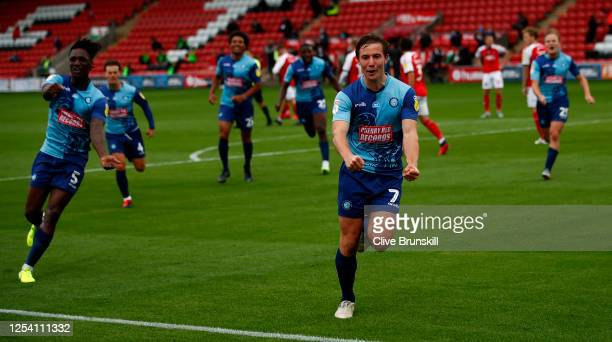 David Wheeler of Wycombe Wanderers celebrates after scoring during the Sky Bet League One Play Off Semi-final 1st Leg match between Fleetwood Town...