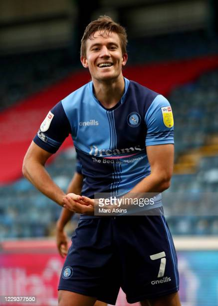 David Wheeler of Wycombe Wanderers celebrates scoring the opening goal during the Sky Bet Championship match between Wycombe Wanderers and Sheffield...