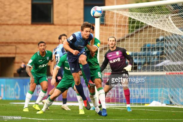 David Wheeler of Wycombe Wanderers scores the winning goal during the Sky Bet Championship match between Wycombe Wanderers and Sheffield Wednesday at...