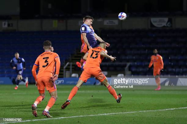 David Wheeler of Wycombe Wanderers scores their team's second goal during the Sky Bet Championship match between Wycombe Wanderers and Cardiff City...