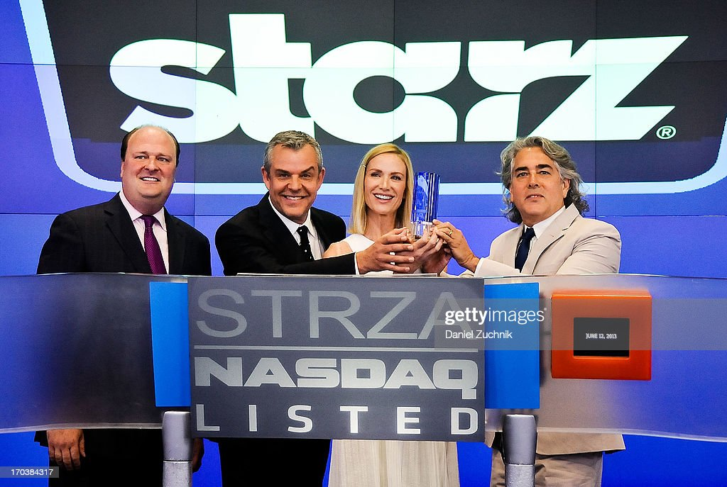 David Wicks, Danny Huston, Kelly Lynch and Mitch Glazer visit the NASDAQ MarketSite on June 12, 2013 in New York City.