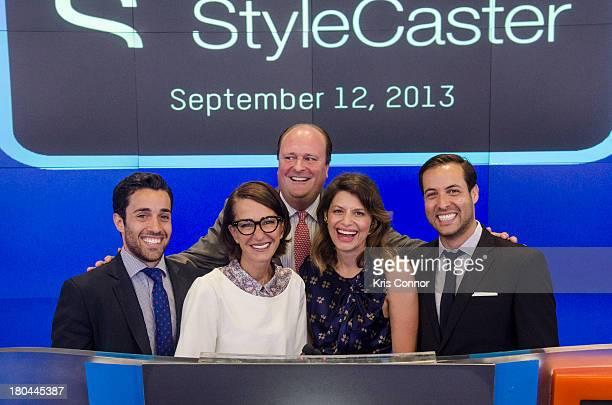 David Wicks Laurel Pinson Cynthia Rowley Ari Goldberg and David Goldberg rings closing bell at NASDAQ MarketSite on September 12 2013 in New York City