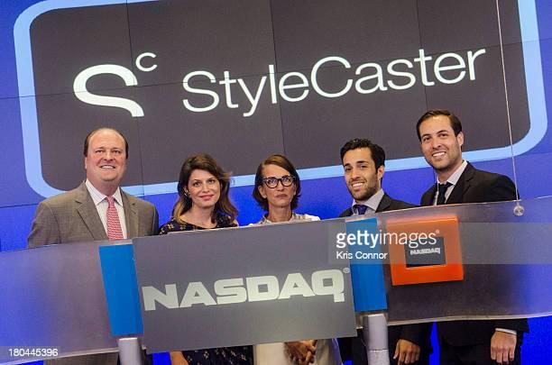 David Wicks Laurel Pinson Cynthia Rowley Ari Goldberg and David Goldberg ring closing bell at NASDAQ MarketSite on September 12 2013 in New York City