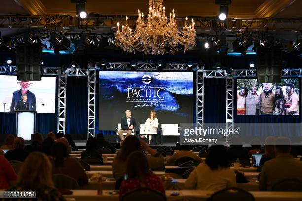David Widerøe Sam Neill and Julia Stiles at Ovation Presents Upcoming Programming at 2019 Winter TCA Tour With Julia Stiles Lena Olin Yannick Bisson...
